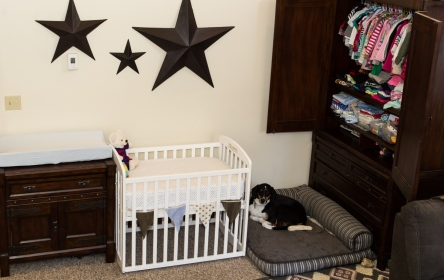 "The baby's nursery, the dog's room, and Little A and baby's closet all tucked onto a wall in the Living Room. I mean, what's a ""Living Room"" if you're not ""living"" in it?"